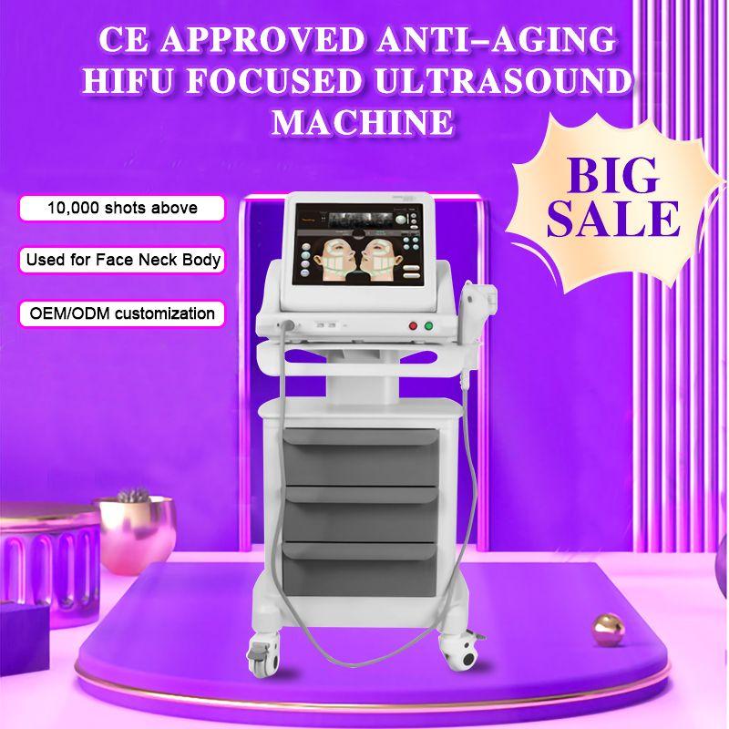 CE ha dimostrato anti-aging HIFU focalizzata macchina ad ultrasuoni per corpo dimagrante rimozione delle rughe lifting con 3 o 5 cartucce (escludere trolley)
