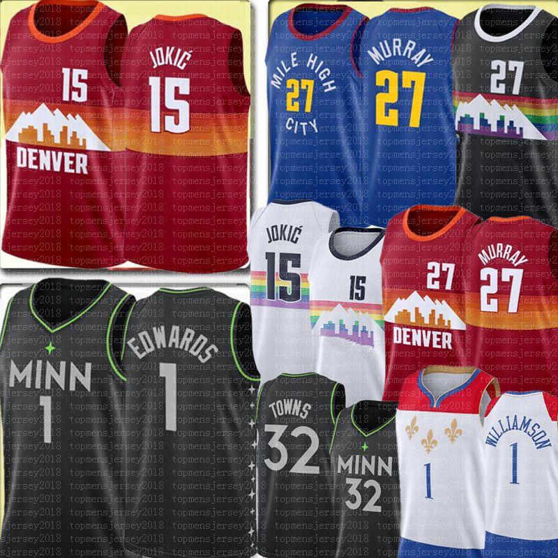 New Nikola 15 Jersey Jamic Jamal 27 Murray Jersey Black Anthony 1 Edwards Karl-Anthony 32 Ciudades Ciudades baloncesto Jerseys Zion 1 Williamson Jersey