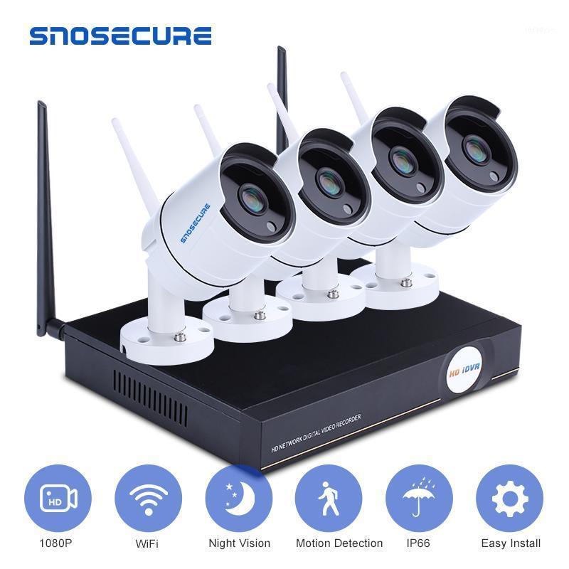 Snosecure H.265 4CH 8CH 1080P Kit de NVR sem fio WiFi Sistema de Segurança 2MP Ao Ar Livre CCTV Câmera IP P2P Vigilância Video Set1