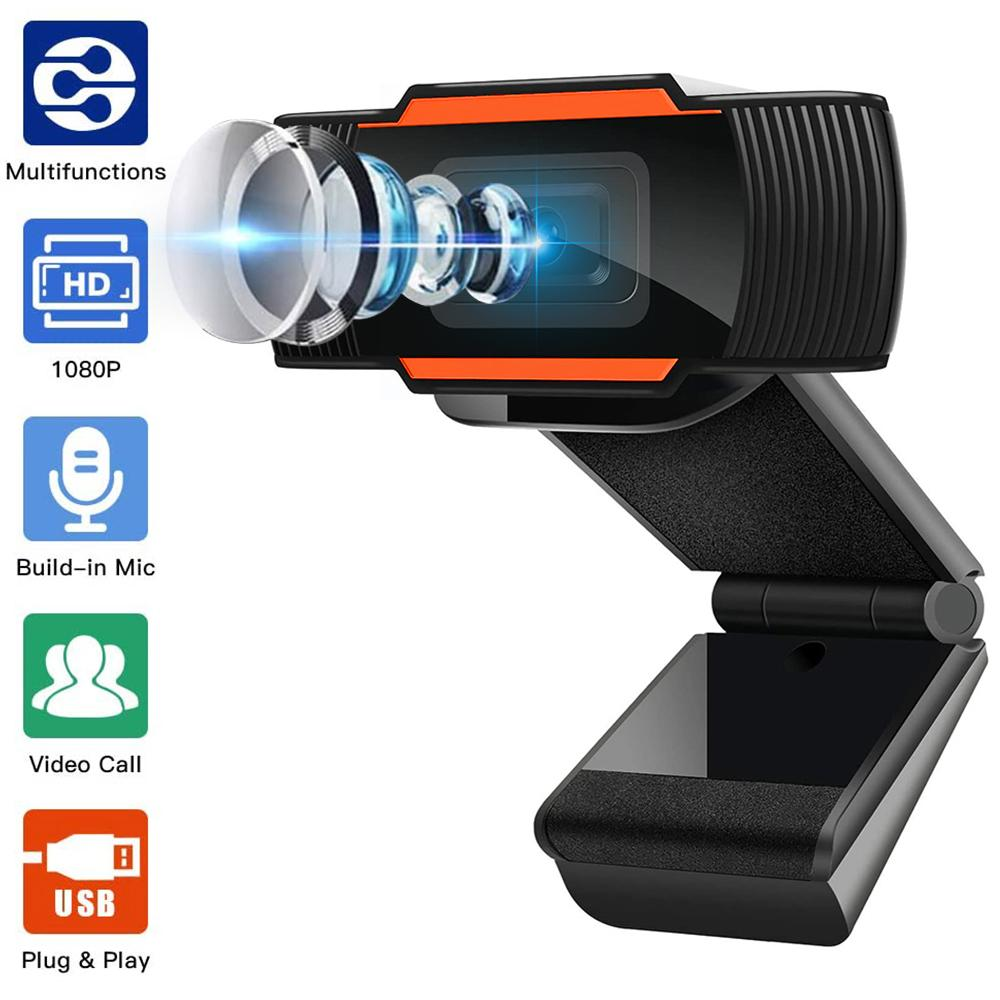 Webcam 1080P 720P 480P Full HD Caméra Web intégré Microphone USB Branchez Web Cam pour PC Ordinateur Mac portable Bureau YouTube Skype
