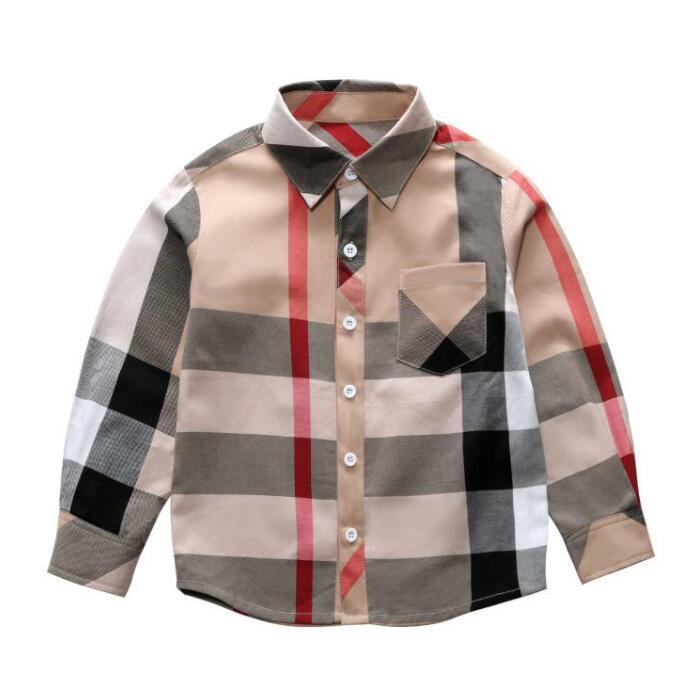 Venda quente Moda Menino Crianças Roupas 3-8y Primavera Nova Manga Longa Grande Xadrez Camiseta Padrão padrão Lapela Menino Camisa Atacado