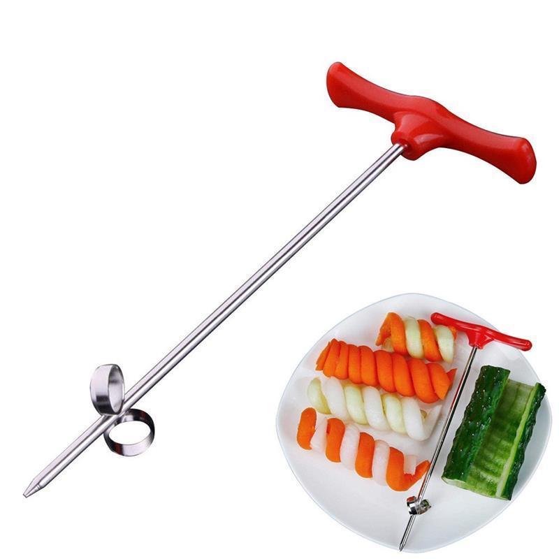 Креативный спиральный крутовой нож для огурца морковь фрукты овощное нож ручной ролик нержавеющей стали резьбовый нож кухонный инструмент 384 N2