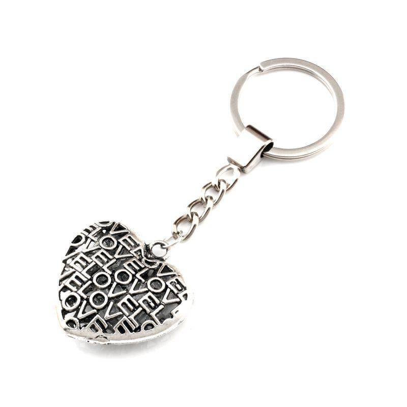 15pcs/lots Ancient silver Keychain 3D Lovle hollow Heart Alloy Charms Pendants Key Ring Travel Protection DIY Jewelry A-554f