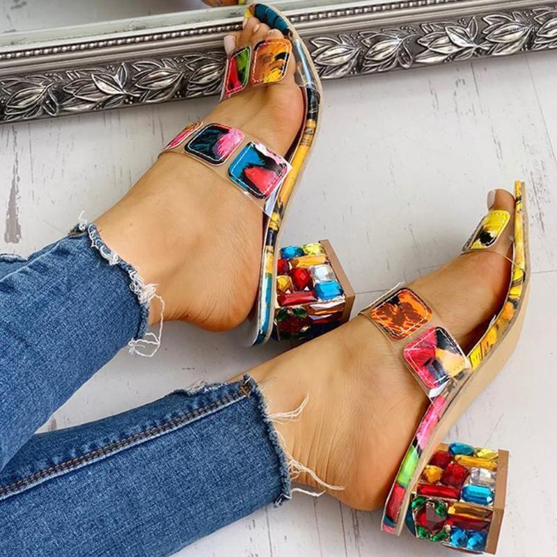 2020 Big Size 41 Mode Dame Slipper Kristall Quadratische Fersen Sommer Damenschuhe Frauen Sandalen Freizeit Frau Hausschuhe Schuhe Frau1