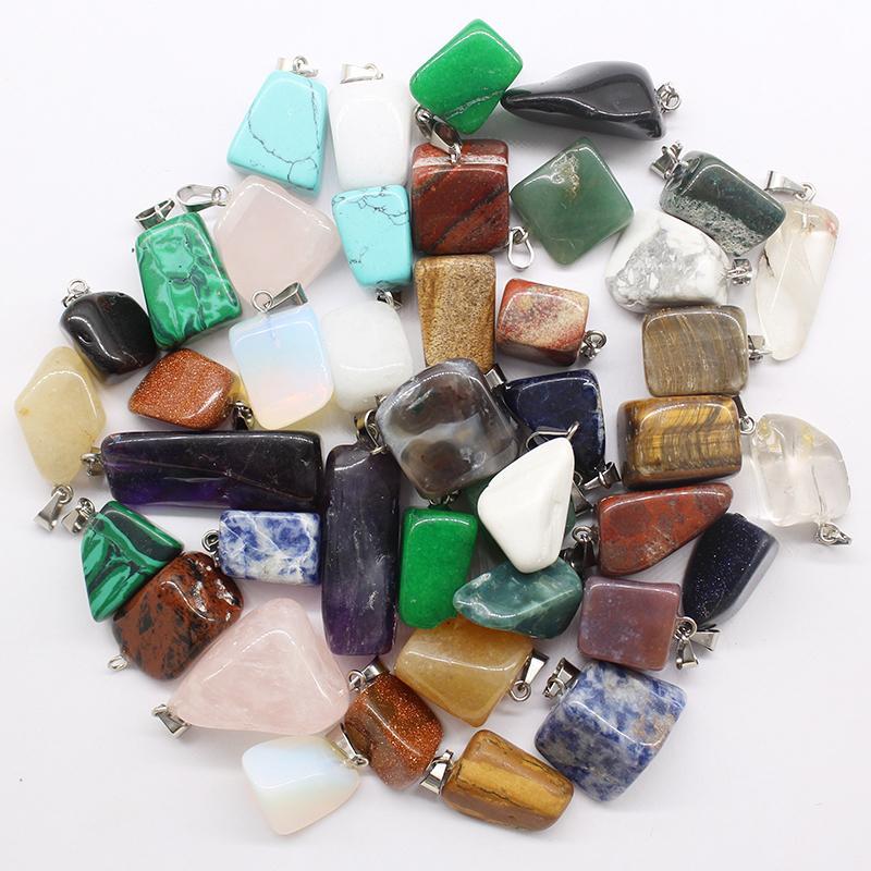 Wholesale 30pcs/lot hot selling trendy Assorted Natural stone Mixed Irregular shape pendants charms jewelry Free shippingDZ Q1107