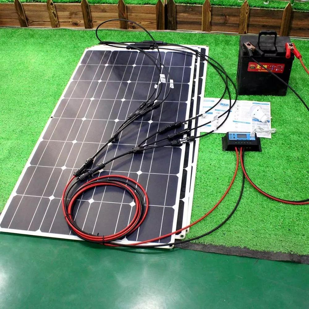 12V 유연한 태양 전지 패널 키트 100W 200W 300W 태양 전지 컨트롤러 보트 자동차 RV 및 배터리 충전기