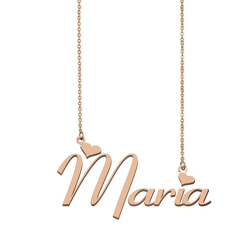 Maria Name Halskette Anhänger Sinne Personalisierte Personifizierte Für Frauen Mädchen Kinder Beste Freunde Mütter Geschenke 18 Karat vergoldetem Edelstahl