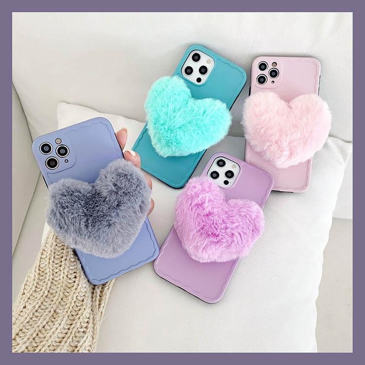 3D Fur Downy Soft Plush Back Cell Phone Case Cover Candy Color Heart Soft TPU Phone Shell for iPhone 11 12 PRO MAX