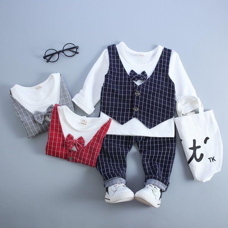2020 HOT boys gentleman set Children's Autumn Suits clothes Outfits 3pcs T Shirt+Pants+Plaid Vest free shipping