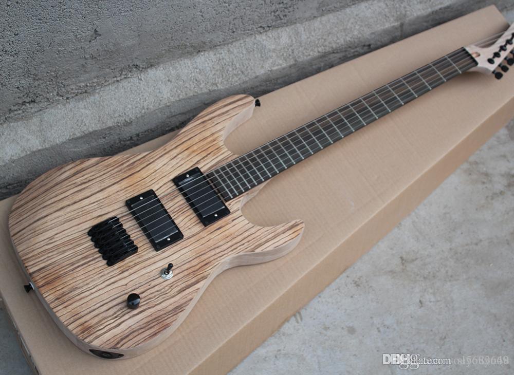Esmerilado cebra guitarra eléctrica de madera con puente fijo, palisandro sin cubierta, hardware Negro, Servicio Personalizado