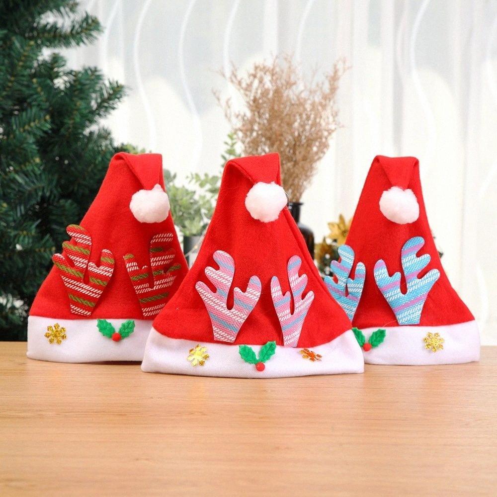 Los fabricantes venden decoraciones de Navidad Sombrero de Navidad Santa Claus Cap asta de la historieta del casquillo Childrens Nueva 4uH8 #