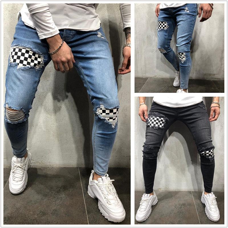 الرجل الأوروبي والأمريكي رجالي العليا شارع رجل ممزق تمتد جينز للرجال زراعة الذاتي أقدام صغيرة جينز رجالي قديم مع الركبتين ممزقين