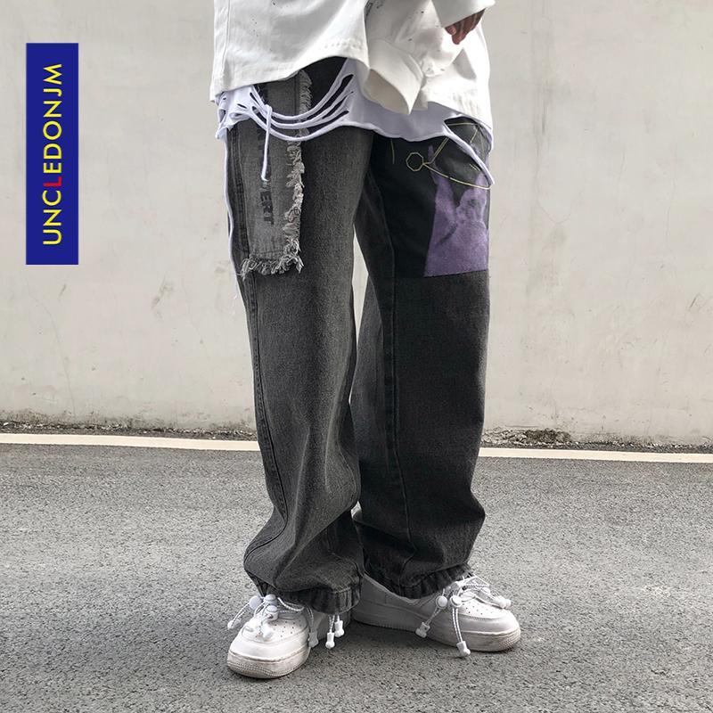 UNCLONJM Çövüslü erkek Streetwear Hip-Hop Düz Denim Pantolon Moda Sıkıntılı Biker Kot Pantolon