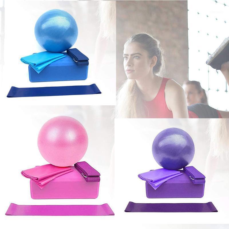 Aset Yoga Starter Starter Brique / Serviette / Cercle / Band / Ball Kit 5pcs Equipements de yoga Ensemble de remise en forme Home Gym Sports Équipement Nouveau 20201