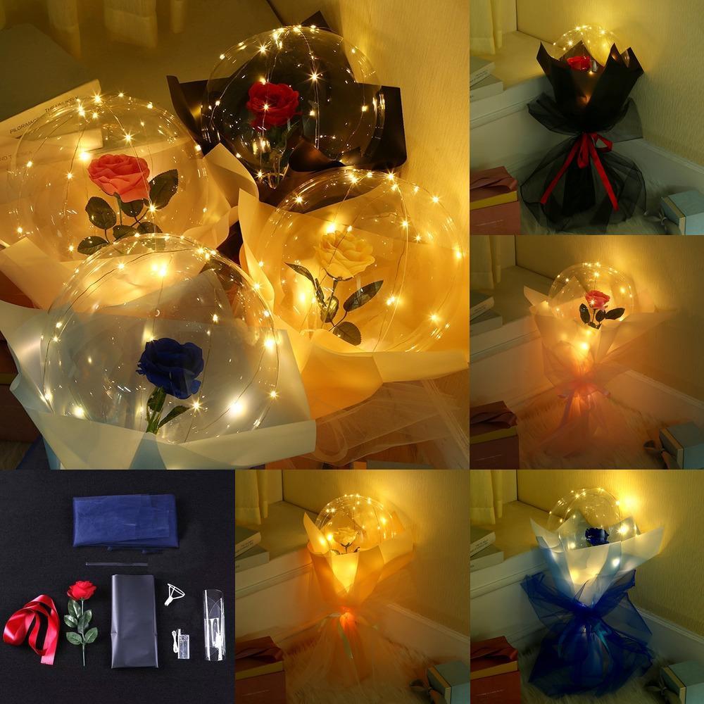 LED 빛나는 풍선 장미 꽃 투명 거품 장미 발렌타인 데이에 대 한 보보 공 선물 생일 빛을 깜박이는 빛을 위로 e121802