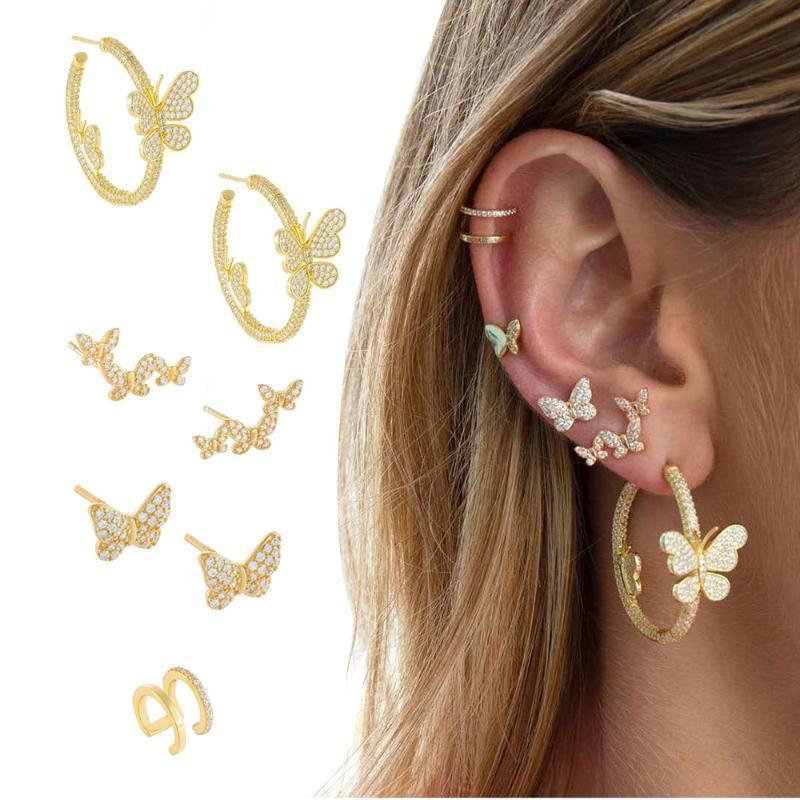 2020 Nouvelle Collection été pleine d'or strass papillon Boucles d'oreilles pour les femmes Petit papillon Charm Hoop Bijoux Boucles d'oreilles