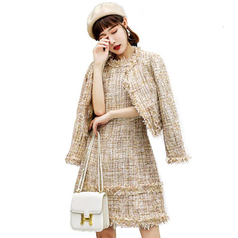 Frühling 2020 Neu für Frauen, gekleidet in Mango-Weniger Modefest Slim-Abdeckung des Körpers Bones Schach Zwei-Anzug-Spiel mit wenig Anzug PTW6 6769