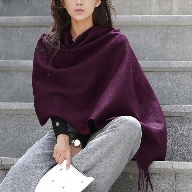 100% laine écharpe femmes cachemire Châle Mode Épaississement Hiver Femme Pashmina Foulards surdimensionnée Gardez Y201007 chaud