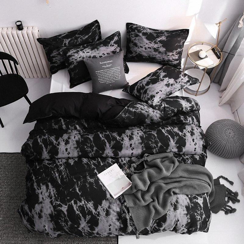 Classic Bedding Set Super King Duvet Cover Sets Marble Single Queen Size Black Stone Comforter Bed Linens Cotton 200x200 ZGSD#