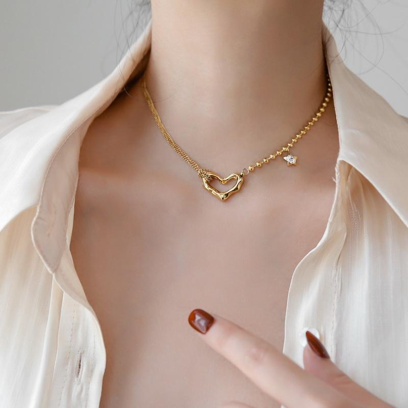 Yun Ruota non dissolta 18 K oro Irregolare Heart Star Choker Collana Moda Sexy Titanium Acciaio Inox Gioielli Acciaio Accessorio donna