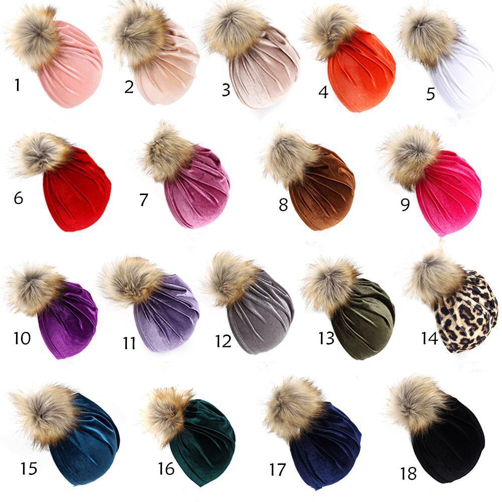 Yeni 18 renk Sonbahar Kış Bebek Bebek Pleuche Şapka Kürk Topu Turban Headwrap Şapka Kız Çocuk Şapkaları Çocuk Cap Beanies