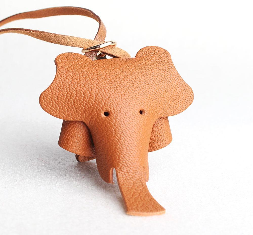 Handmade Натуральная кожа Симпатичные Забавный Счастливый слон Брелок Ключ Кулон Ключ Для Мужчины Женщины Сумка Очарование Девочки