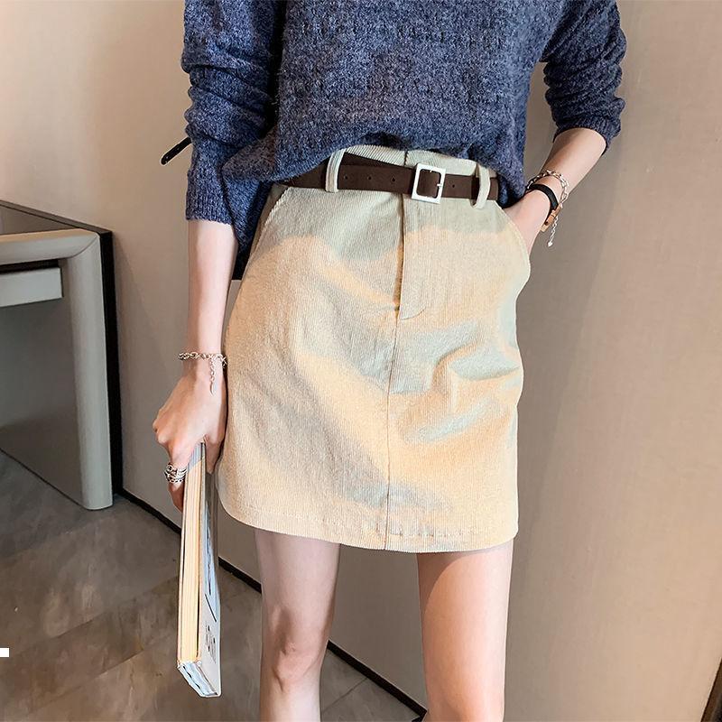 Yeni Kemer 2021 -Autumn Kış Vintage Kadın Modası Kadife Yüksek Ince Hip-Rahat Etek Y424 IB61