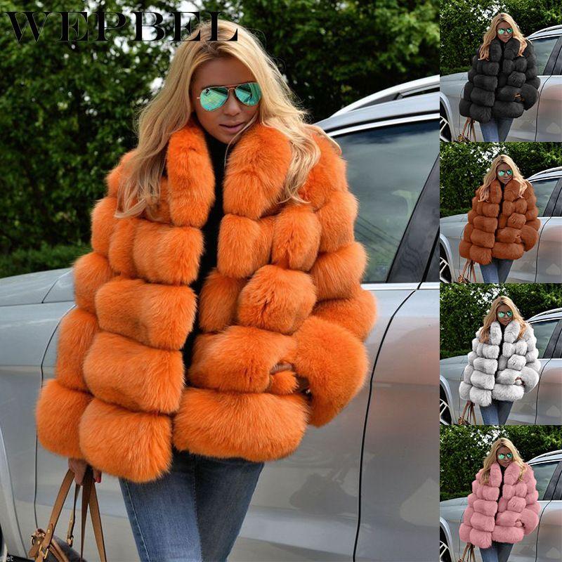 Зимнее пальто Женщины Роскошный Искусственный Fox Шубой Плюс Размер Женщины Стенд Меховой Воротник С Длинным Рукавом Из искусственного меха Wife Q0104