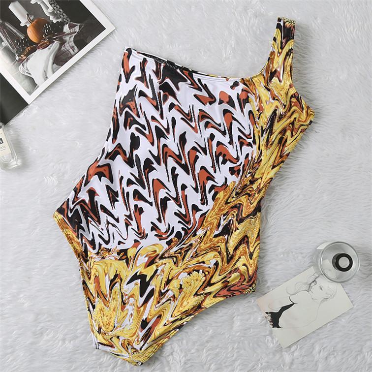 Tek Omuz Moda Yeni Stil Seksi Leopard Mayo Toplulukları Yaz Elbise Bikini Bayan Mayo Bikini Yıkanma Suits yazdır