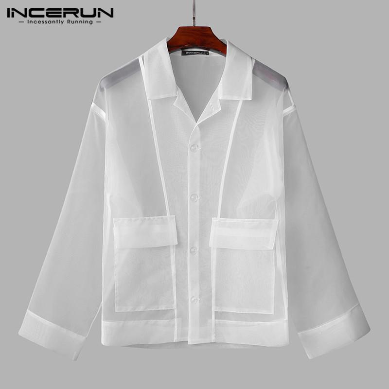Moda malha solta camisas manga longa girar colarinho camisa incerun homens camisas sexy ver através de bolsos blusas streetwear 5xl
