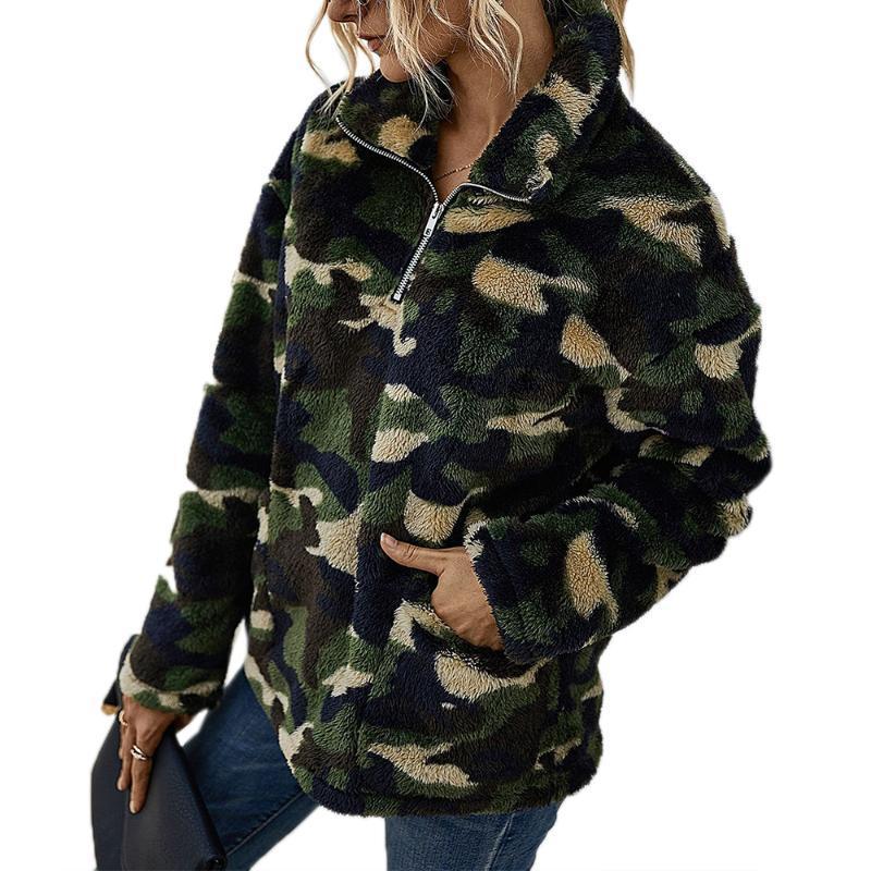 Inverno camisola Mulheres 2020 da manta Impresso Top bolso Long Sleeve Top Feminino capuz solto camisola Moda Feminina