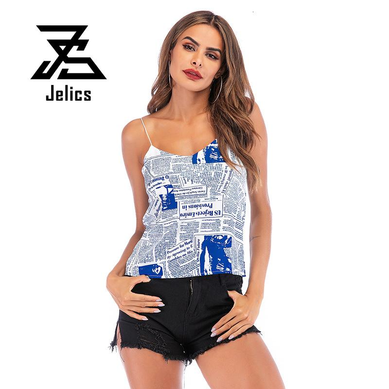 Jelics 2020 New Fashion Summer Camis T-shirt Women Tank Tops Newspaper Print Sleeveless V-neck Backless Casual Slim Tees Shirt