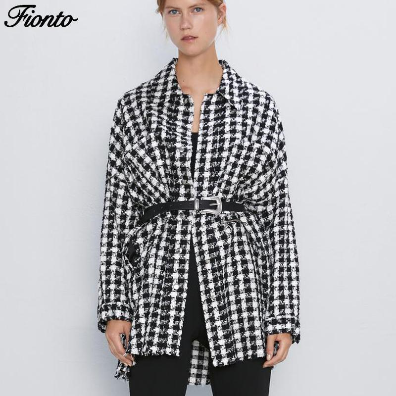 FIONTO Pockets Jackets Women Fashion Houndstooth Coats Women Elegant Long Sleeve Zipper Jackets Female Ladies Shirt Jacket