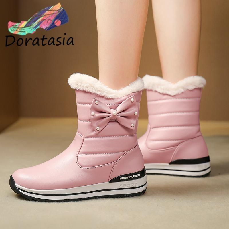 DORATASIA femmes perle Wedges hiver Chaussures 2020 Bottes hiver de femme douce papillon parents-enfants Knot snowboots