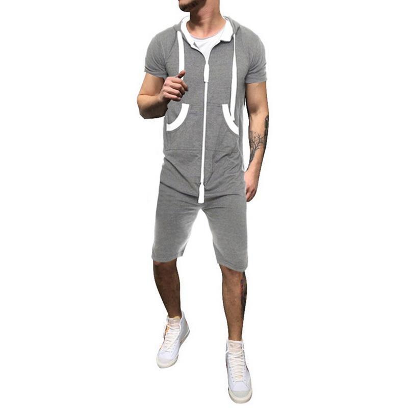 2021 Новое летние мужские повседневные с короткими рукавами на молнии с капюшоном спортивный комбинезон с карманами Мода Rompers One Piece Одежда