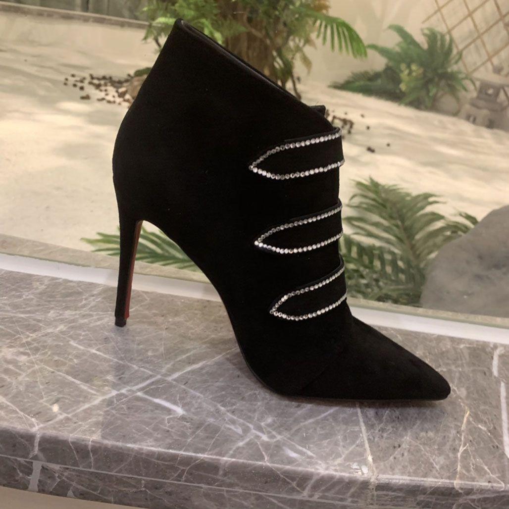 مصمم أزياء المرأة الأحمر أسفل الأحذية Triniboot الحذاء الأسود جلد العجل والجلود مثير المرأة الغنيمة أشار تو الكاحل الجوارب الكعوب حزب الغنيمة