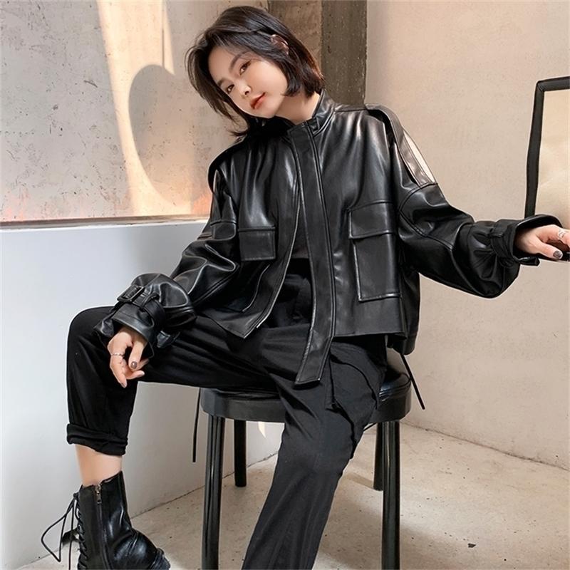 Fmfssom big bolsillo diseño suelto bf motobike cremallera soplo manga chic mujer señora pu chaqueta de cuero Y201012