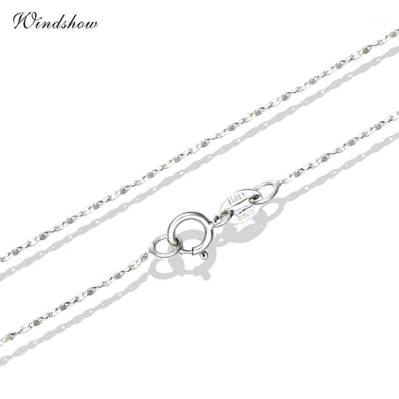 VRAI 925 STERLING STERING SLIM SLIG WAND WAVE CHANNEL Colliers pour pendentifs Charms Bijoux pour Womens Girls Bijoux Cadeau Bijoux Femme1