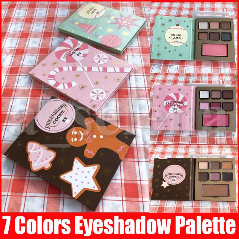 Face Makeup Christmas Gift Eye Shadow Eggnog LATTE Peppermint MOCHA Gingerbread COOKIE 7 Color Eyeshadow Blush Palette 3 Styles