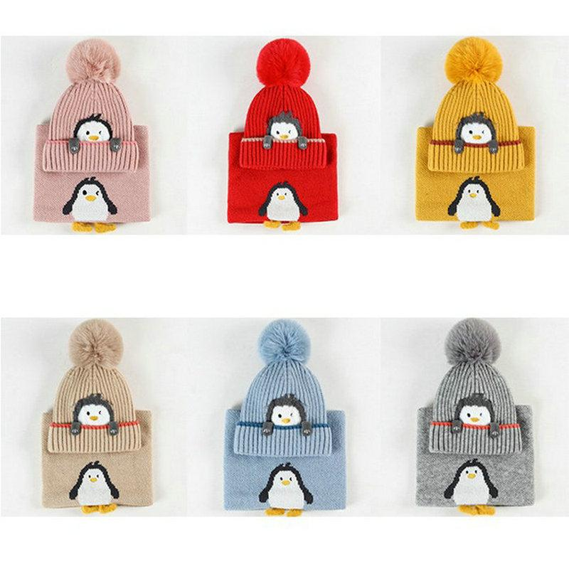 2021 New Baby hat scarf cute little penguin design hat neck for boys and girls winter baby warm supplies