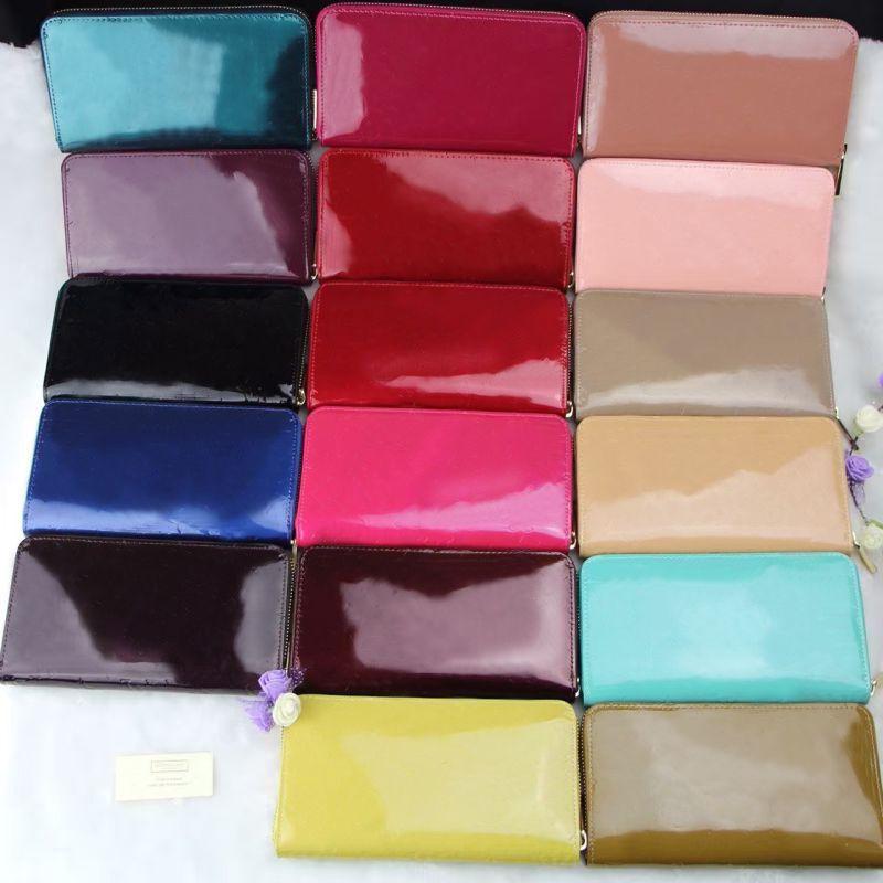 Wholesale brevet cuir shinny long portefeuille dame multicolore portefeuille mode de qualité supérieure portefeuille femme sac de monnaie femme classique fermeture éclair