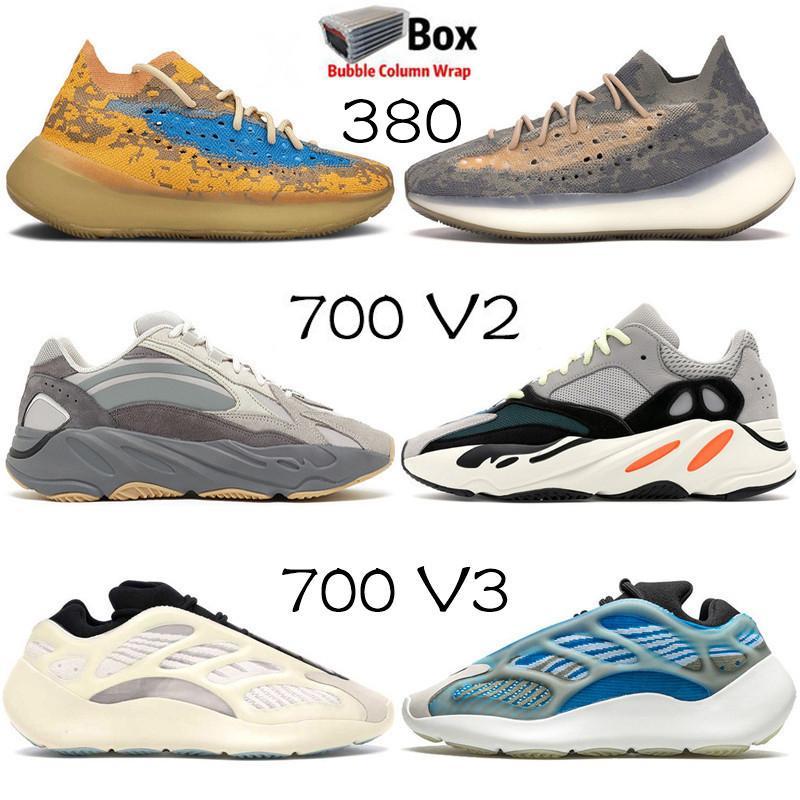 2020 Com Box Kanye West Hospital Azul Estática 700 V2 Mens Women Running Shoes Azareth 700 V3 azuis aveia 380 Esportes Formadores Sneakers