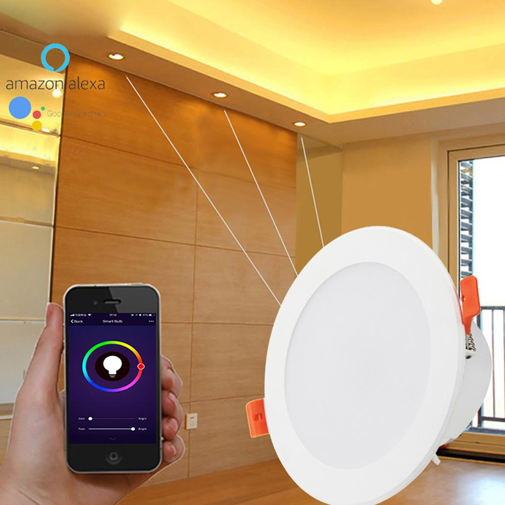 3 pcs controle de voz inteligente 4 polegadas downlight wifi rgbw 10w suporte Alexa e Google Home IFTTT Automation Timer Interruptor LED luz