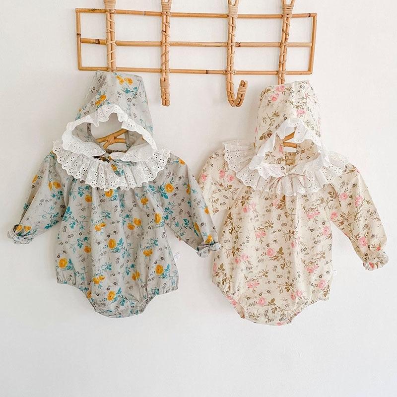 NOUVEAU Bébé Baby Rompers Baby Girls Floral Manches à manches longues Vêtements Rompers et chapeau Spring Automne Baby Girls Rompers 0-3yrs 201127