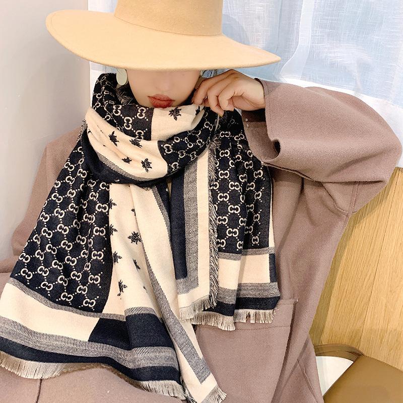 2020 lujo invierno nuevo europeo y americano imitación cachemira mujer bufanda color coincidencia cálido grueso cuello doble cara
