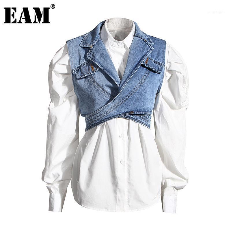 [Eam] Mulheres Blue Denim Irregular Blusa Nova Lapela Longa Sof Slove Solta Cabeça Camisa Moda Maré Primavera Outono 2020 1Z5951