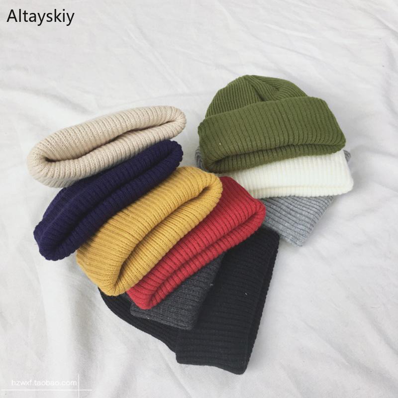 Gorros Mujeres sólida simple caliente del invierno de lana de punto para mujer Skullies todo-fósforo de moda de Nueva Harajuku elegante Estudiantes de ocio Sombreros