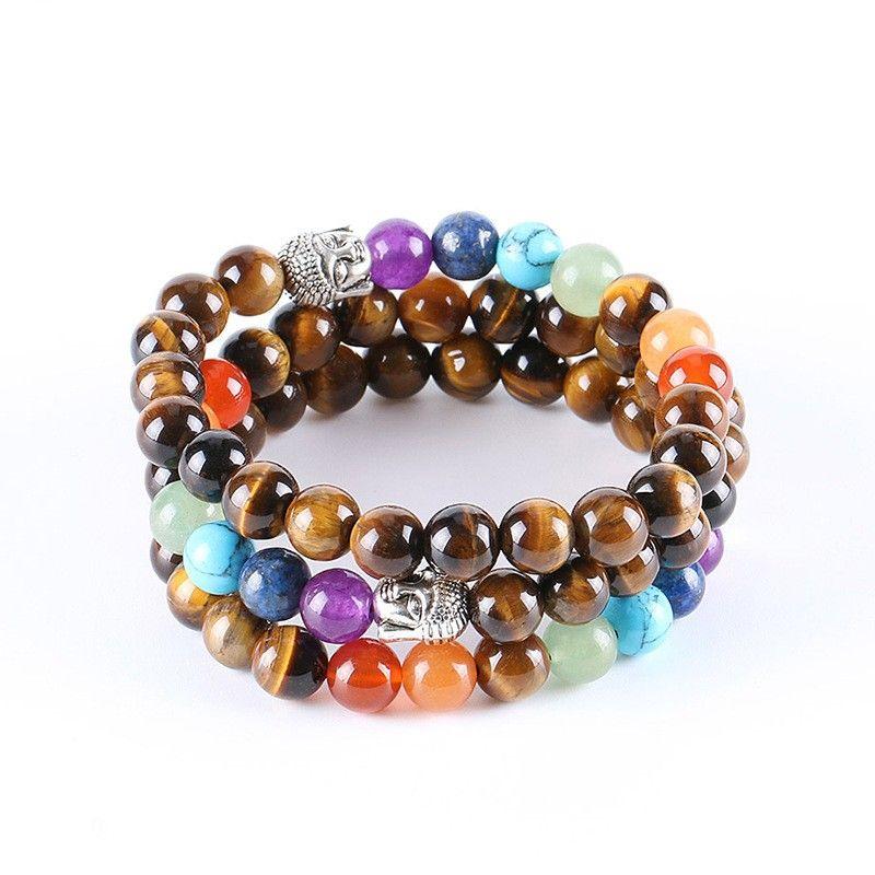 7 Reiki Chakra Bracelet 자연석 자주색 크리스탈 비즈 팔찌 에너지 비즈 요가 손목 밴드 남성 여성 호랑이 눈 돌 B 54 K2