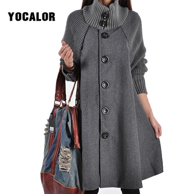 Yocalor Longue féminin Jacket Occupateur Winter Brocheter Lâche Winter Laine manteau Femmes Automne Manteau Femme Hiver Cape Tweed chaud 201104