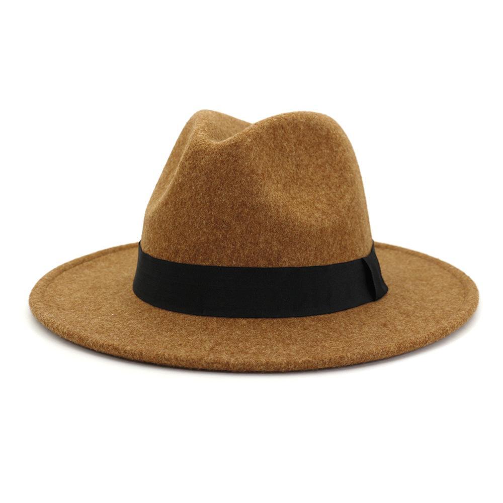 فيدورا قبعة للنساء الرجال واسعة بريم الشتاء الصوف فيلت قبعة خمر الجاز فيدورا قبعة زوجين قبعة